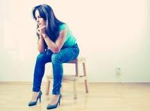 λυπημένες νεολαίες κοριτσιών Στοκ φωτογραφία με δικαίωμα ελεύθερης χρήσης