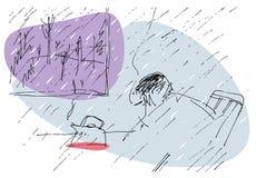 Λυπημένη βροχερή ημέρα στην έκδοση χρώματος ελεύθερη απεικόνιση δικαιώματος