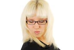 λυπημένη γυναίκα γυαλιών Στοκ Εικόνα
