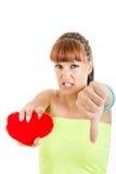 Λυπημένη γυναίκα με τη σπασμένη καρδιά που πάσχει από την αγάπη Στοκ Φωτογραφίες