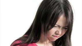 Λυπημένη κινεζική γυναίκα που ματαιώνεται και που ανατρέπεται, δευτερεύον σχεδιάγραμμα απόθεμα βίντεο