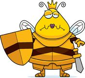 Λυπημένη μέλισσα κινούμενων σχεδίων βασίλισσα Armor διανυσματική απεικόνιση