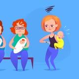Λυπημένη μητέρα με ένα φωνάζοντας παιδί σε μια σειρά αναμονής επίσης corel σύρετε το διάνυσμα απεικόνισης Στοκ εικόνες με δικαίωμα ελεύθερης χρήσης