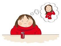 Λυπημένη παχιά γυναίκα που ονειρεύεται για έναν λεπτό αριθμό απεικόνιση αποθεμάτων