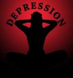 Λυπημένη σκιαγραφία γυναικών που υφίσταται την πίεση και το despai κατάθλιψης Στοκ εικόνες με δικαίωμα ελεύθερης χρήσης
