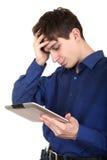 Λυπημένος έφηβος με την ταμπλέτα Στοκ Φωτογραφία