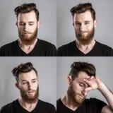 Λυπημένος και δυστυχισμένος νεαρός άνδρας που απομονώνεται στο γκρίζο backround κολάζ Στοκ Εικόνες