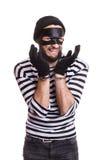 Λυπημένος κλέφτης με τις χειροπέδες Στοκ φωτογραφία με δικαίωμα ελεύθερης χρήσης