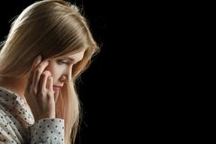 Λυπημένος φιλόσοφος κοριτσιών Στοκ φωτογραφία με δικαίωμα ελεύθερης χρήσης