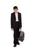 Λυπημένος schoolboy που απομονώνεται στην άσπρη ανασκόπηση Στοκ φωτογραφία με δικαίωμα ελεύθερης χρήσης