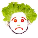 Λυπημένο ανθρώπινο κεφάλι φιαγμένο από λαχανικά Στοκ φωτογραφία με δικαίωμα ελεύθερης χρήσης