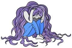 Λυπημένο καταθλιπτικό διάνυσμα γυναικών Στοκ Εικόνες