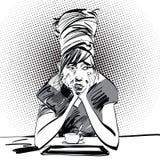 Λυπημένο κορίτσι με ένα φλιτζάνι του καφέ Στοκ Εικόνες