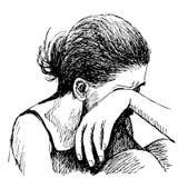 Λυπημένο χέρι κοριτσιών που σύρεται Στοκ φωτογραφία με δικαίωμα ελεύθερης χρήσης