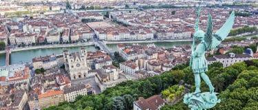 Λυών από την κορυφή της Notre Dame de Fourviere Στοκ φωτογραφία με δικαίωμα ελεύθερης χρήσης
