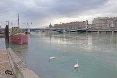 Λυών, βάρκες και κύκνοι στον ποταμό Ροδανός Στοκ Εικόνες