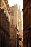 Λυών, Γαλλία. Καθεδρικός ναός και παλαιά οδός πόλεων Στοκ Εικόνα