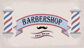 Λωρίδα ή βότσαλο πινακίδων σημαδιών λογότυπων αφισών για τον κουρέα, coiffeur, haircutter, εκλεκτής ποιότητας αναδρομική επιγραφή Στοκ εικόνες με δικαίωμα ελεύθερης χρήσης