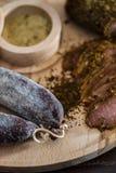 Λωρίδα και λουκάνικο κρέατος Στοκ Εικόνα