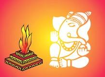Λόρδος Ganesha κοντά σε Homa απεικόνιση αποθεμάτων