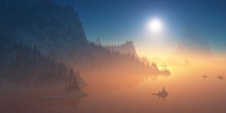 Λόφοι βουνών που καλύπτονται με το δάσος στο ηλιοβασίλεμα Στοκ Φωτογραφία