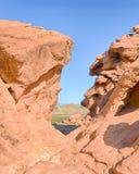Λόφοι ηχούς, περιοχή πικ-νίκ Redstone, εθνική περιοχή αναψυχής υδρομελιών λιμνών, NV Στοκ Εικόνα