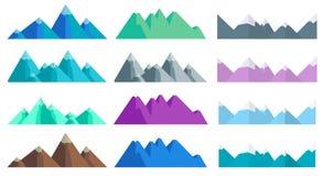 Λόφοι και βουνά κινούμενων σχεδίων καθορισμένοι, απομονωμένα διάνυσμα στοιχεία τοπίων Στοκ Εικόνες