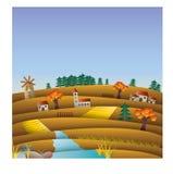 Λόφοι και τομείς το φθινόπωρο, πτώση, απεικόνιση τοπίων με το μύλο Στοκ Εικόνες