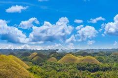 Λόφοι σοκολάτας στην ηλιόλουστη ημέρα, Bohol, Φιλιππίνες στοκ εικόνα