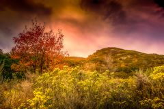 Λόφοι το φθινόπωρο με έναν θυελλώδη ουρανό Στοκ εικόνα με δικαίωμα ελεύθερης χρήσης