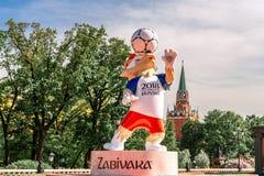 Λύκος Zabivaka Η επίσημη μασκότ του Παγκόσμιου Κυπέλλου 2018 στοκ φωτογραφίες με δικαίωμα ελεύθερης χρήσης