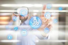 Λύση και λογισμικό αυτοματοποίησης για την επιχειρησιακή διαδικασία, τη ροή της δουλειάς, τη σύγχρονες τεχνολογία και την αυτοματ στοκ εικόνες