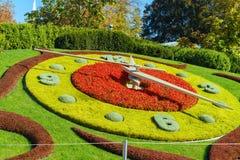 Λ ` horloge fleurie, ή το ρολόι λουλουδιών, Γενεύη, Ελβετία Στοκ Εικόνες