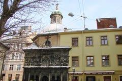 Λ ` viv Ουκρανία Πανόραμα των αρχαίων κτηρίων του ιστορικού μέρους της πόλης στοκ φωτογραφία