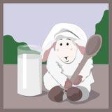 Μάγειρας αρνιών και ποτήρι του γάλακτος απεικόνιση αποθεμάτων