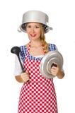 Μάγειρας γυναικών που απομονώνεται στο άσπρο υπόβαθρο Στοκ φωτογραφίες με δικαίωμα ελεύθερης χρήσης