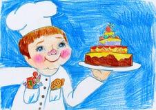Μάγειρας και κέικ, παιδί που επισύρουν την προσοχή στην έννοια εγγράφου, γενεθλίων και διακοπών Στοκ Εικόνα