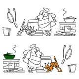 Μάγειρας και μια γάτα κουζίνα Σύνολο Στοκ Εικόνες