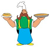 Μάγειρας κινούμενων σχεδίων με την πίτσα και πίτα στα χέρια του διανυσματική απεικόνιση