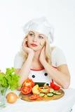Μάγειρας με τα λαχανικά στοκ φωτογραφίες