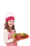 Μάγειρας μικρών κοριτσιών με το τυμπανόξυλο Στοκ Φωτογραφίες