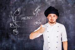 Μάγειρας στην κιμωλία υποβάθρου Στοκ φωτογραφία με δικαίωμα ελεύθερης χρήσης