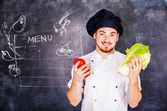 Μάγειρας στην κιμωλία υποβάθρου Στοκ Εικόνες
