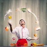 Μάγειρας στην κουζίνα Στοκ εικόνα με δικαίωμα ελεύθερης χρήσης