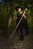 Μάγισσα αποκριών με το σκουπόξυλο Στοκ φωτογραφία με δικαίωμα ελεύθερης χρήσης