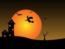 Μάγισσα νύχτας αποκριών Στοκ φωτογραφία με δικαίωμα ελεύθερης χρήσης