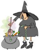 Μάγισσα που κατασκευάζει τη σούπα σε ένα καζάνι διανυσματική απεικόνιση