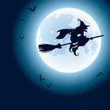 Μάγισσα που πετά πέρα από το φεγγάρι διανυσματική απεικόνιση