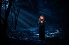 Μάγισσα στο δάσος νύχτας Στοκ Εικόνες
