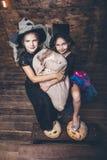 Μάγισσες κοστουμιών κοριτσιών παιδιών με τις κολοκύθες και απολαύσεις Στοκ Εικόνες